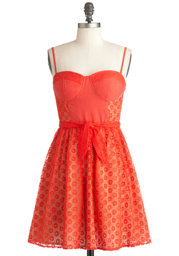 Tender Loving Carrot Dress - Short, Orange, Lace, Party, A-line, Spaghetti Straps, Belted, Fit & Flare, Sweetheart