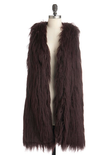 When in Tremblant Vest by BB Dakota - Long, Solid, Sleeveless, Brown, Fall, 1.5, 1, Rustic