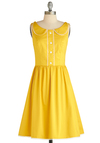 Dandelion Hearted Dress - Yellow, White, Solid, Buttons, Peter Pan Collar, Trim, Casual, A-line, Sleeveless, Mid-length, Summer, Exclusives, Cotton, Collared, Fit & Flare