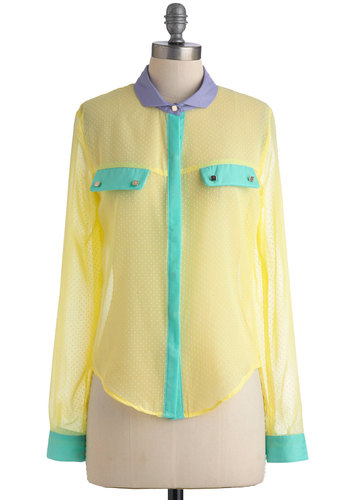 Backyard Bake-Off Top - Yellow, Green, Purple, Buttons, Casual, Long Sleeve, Mid-length, Multi, White, Polka Dots, Pockets, Spring, Neon, Sheer, Button Down, Collared, Colorblocking