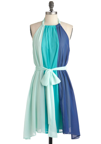Scoop of Sorbet Dress in Blue - Blue, Green, Party, Shift, Sleeveless, Summer, Belted, Colorblocking, Short, Tis the Season Sale, Beach/Resort