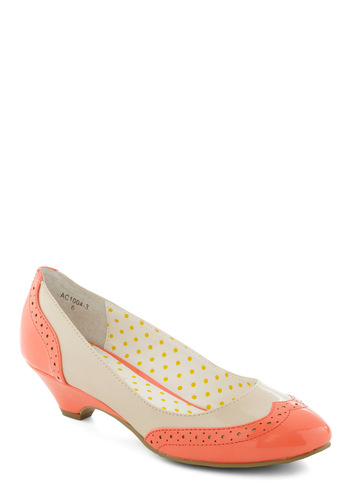 Sweet Spectator Heel in Melon by Bait Footwear - Orange, White, Work, Casual, 50s, Scholastic/Collegiate, Spring, Faux Leather, Low, Wedge, Coral, Variation