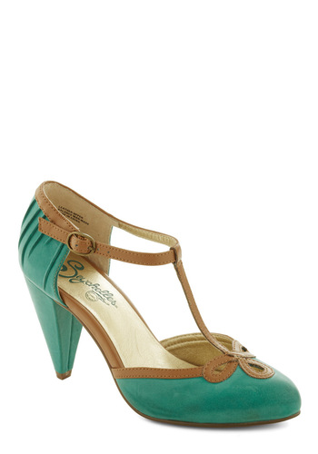 All Dressed Up Heel in Matte Jade by Seychelles - Green, Tan / Cream, Party, Work, Vintage Inspired, 50s, Leather, Mid, Chunky heel, Best, T-Strap