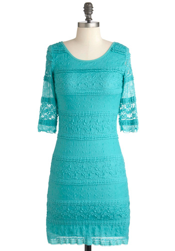 Yearn the Tides Dress - Green, Party, Shift, 3/4 Sleeve, Spring, Mid-length, Lace, French / Victorian