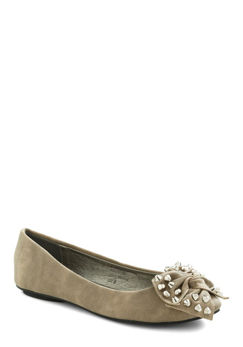 Library Rock Out Flat - Tan, Solid, Bows, Studs, Flat, Casual, Faux Leather