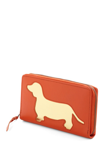 Wiener Takes All Wallet by And Mary - Orange, Gold, Animal Print, Casual, Quirky, Leather