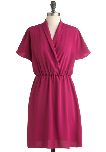 Back in a Fuchsia Dress - Pink, Solid, Work, A-line, Short Sleeves, Mid-length, Sheer, V Neck