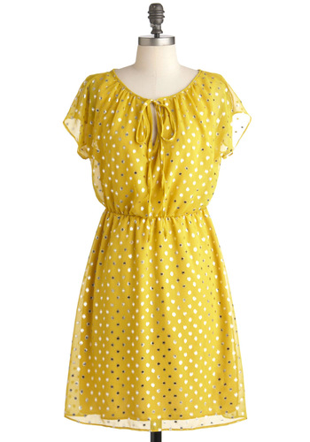 Ready to Sunburst Dress - Yellow, Silver, Party, A-line, Cap Sleeves, Mid-length, Polka Dots, Tie Neck, Glitter, Sheer