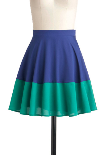 Track and Field Day Skirt - Blue, Green, A-line, Casual, Colorblocking, Fit & Flare, Short