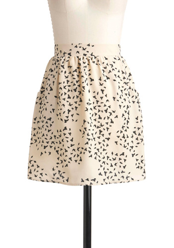 Birds with Friends Skirt - Cream, Black, Print with Animals, Pockets, Short, Tis the Season Sale