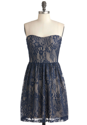 Enchanting Itinerary Dress - Blue, Tan / Cream, Lace, Party, A-line, Strapless, Vintage Inspired, French / Victorian, Mid-length