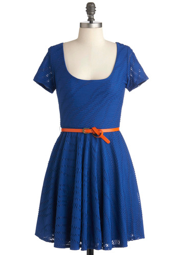 Beachside BBQ Dress - Short, Blue, Party, A-line, Short Sleeves, Spring, Belted, Solid, Casual