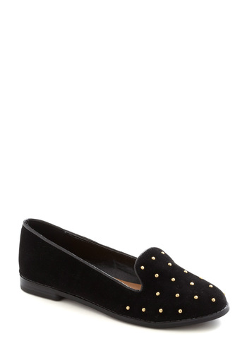 Wish Upon a Stud Loafer - Black, Solid, Studs, Casual, Film Noir