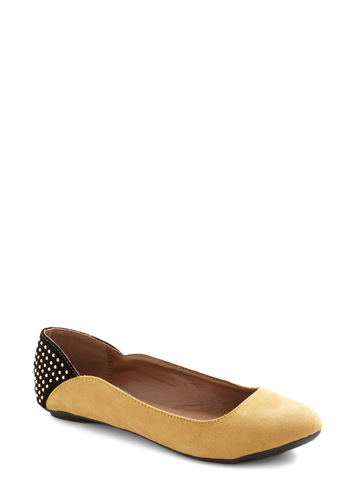 Studdedly I See Flat - Yellow, Black, Studs, Casual, Urban, Faux Leather, Flat