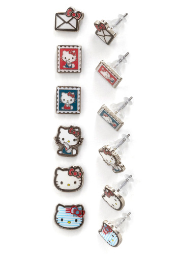 Scratching Postage Earring Set by Loungefly - Multi, Red, Blue, White, Kawaii