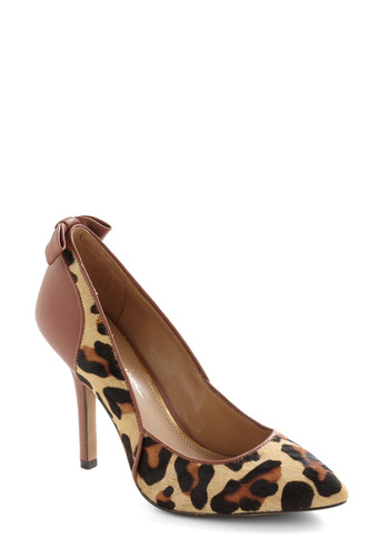 Leopards and Bounds Heel - Brown, Tan / Cream, Animal Print, Bows, Statement, Girls Night Out, High