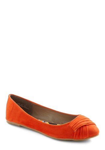 Juice the Two of Us Flat in Orange - Orange, Solid, Pleats, Flat, Casual, Fall, Faux Leather