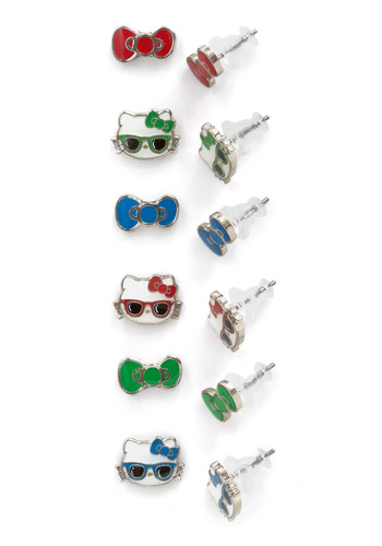 Purr Diem Earring Set - Red, Green, Blue, Kawaii
