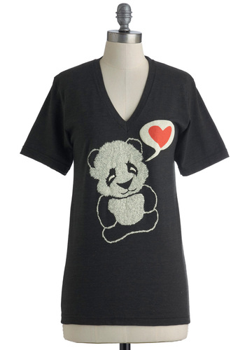 Bear Your Soul Top - Black, Red, White, Casual, Short Sleeves, Mid-length, V Neck