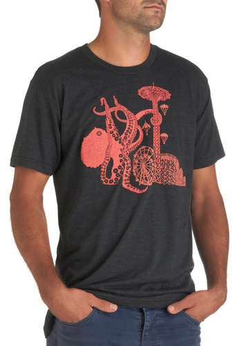 Carnival Tide Men's Tee - Black, Red, Casual, Short Sleeves, Mid-length, Coral