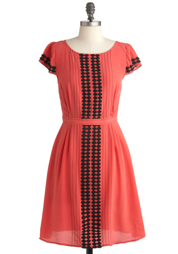 Plenty by Tracy Reese Balcony View Dress by Plenty by Tracy Reese - Mid-length, Orange, Black, Party, A-line, Trim, Short Sleeves