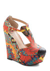 Fowl Ball Wedge - Wedge, Multi, Red, Yellow, Blue, Black, Print, Statement, Platform, High