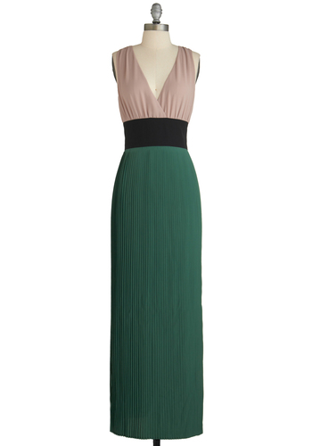Beach and Every Time Dress - Long, Green, Tan / Cream, Black, Backless, Party, Maxi, Sleeveless, Pleats, Daytime Party, V Neck