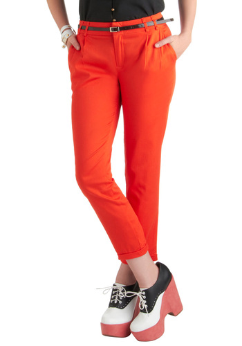 New Slack Swing Pants in Red - Mid-length, Casual, Menswear Inspired, Red, Solid, Pleats, Pockets, Cropped, Cotton