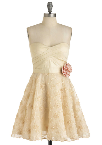 Guest Dressed Dress - Cream, Pink, Flower, A-line, Strapless, Embroidery, Prom, Mid-length, Exclusives, Solid, Wedding, Bride