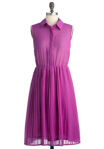 Do As You Pleats Dress - Long, Purple, Solid, Buttons, Pleats, Party, Shirt Dress, Sleeveless, Menswear Inspired, Neon, Sheer, Button Down, Collared