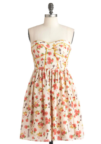 Have Gramercy Dress - Cream, Yellow, Green, Pink, Brown, Floral, Party, Casual, A-line, Strapless, Summer, French / Victorian, Mid-length, Daytime Party, Fit & Flare, Sweetheart