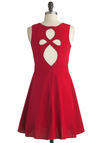 On the Loop-out Dress in Red - Mid-length, Red, Solid, Cutout, Party, A-line, Sleeveless, Summer, Fit & Flare