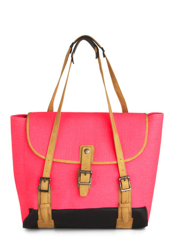 Flair Game Tote - Multi, Pink, Tan / Cream, Black, Work, Casual, Colorblocking