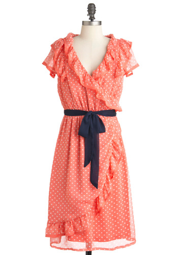 Frill Seekers Dress - Long, Orange, Blue, White, Polka Dots, Ruffles, Party, Wrap, Cap Sleeves, Summer, Belted, Vintage Inspired, Coral