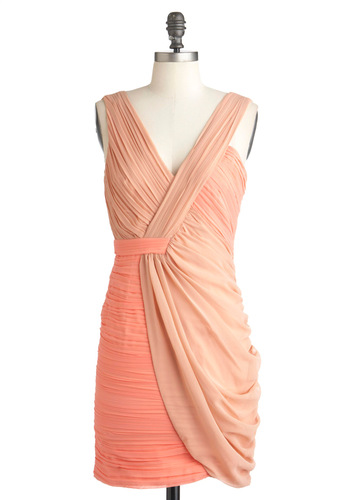 Something Neutral Dress - Mid-length, Wedding, Party, Sheath / Shift, Sleeveless, Summer, Cocktail, Pastel, Coral, Solid, Ruching, V Neck