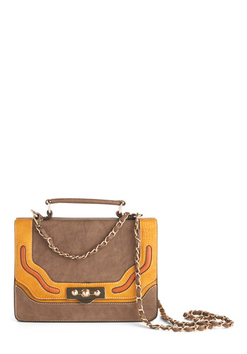 Gold and Sands Handbag by Melie Bianco - Tan, Orange, Yellow, Chain, Casual, Fall, Scholastic/Collegiate, Faux Leather