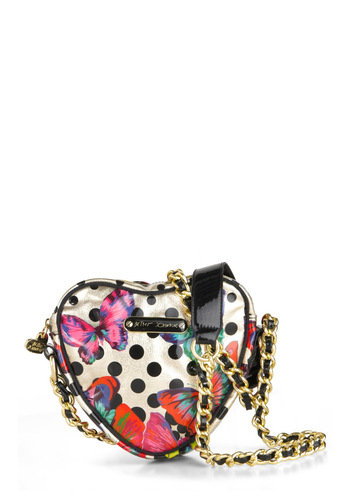 Betsey Johnson Carry Your Heart Handbag by Betsey Johnson - Multi, Polka Dots, Print with Animals, Girls Night Out