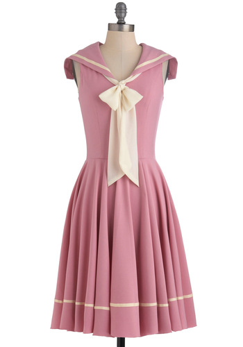 Sea Shanty Singing Dress - Pink, Tan / Cream, Solid, Vintage Inspired, A-line, Sleeveless, Exclusives, Pastel, Tie Neck, Collared, Fit & Flare, Nautical, Spring, 50s, 60s, Pinup, Casual, Variation, Long