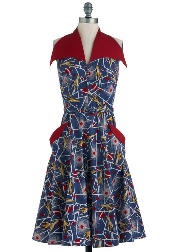 The Cosmonaut Dress - Long, Blue, Red, Yellow, White, Novelty Print, Buttons, Pockets, Shirt Dress, Sleeveless, Belted, 40s, Daytime Party, Fit & Flare, Pinup