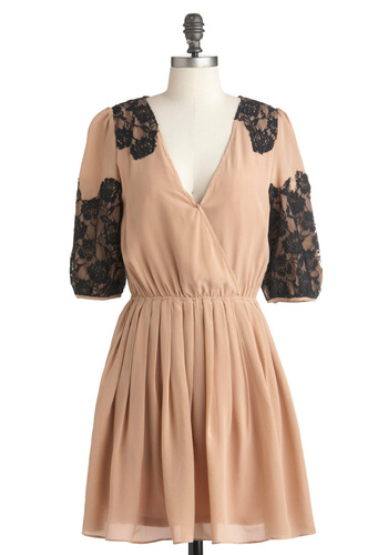 Ode It All to You Dress - Mid-length, Tan, Black, Lace, Pleats, A-line, 3/4 Sleeve, Party, Vintage Inspired, French / Victorian, Steampunk, Pastel, Cocktail, V Neck, Tis the Season Sale