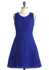 Stitch in Timeless Dress - Mid-length, Blue, Solid, Party, Casual, A-line, Sleeveless, Fit & Flare