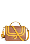 Orla Kiely Caramel Mocha Bag by Orla Kiely - Tan / Cream, Gold, Casual, Luxe, Colorblocking, Leather, International Designer