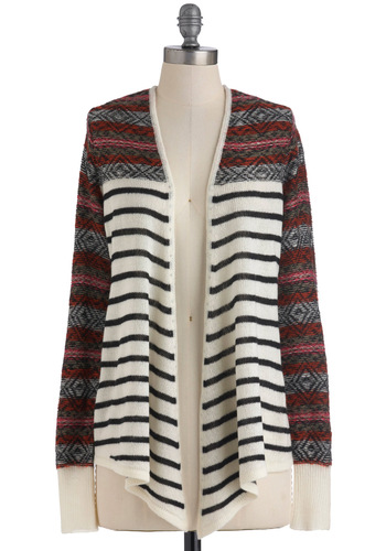 Keep the Cardigan Running by Jack by BB Dakota - Mid-length, Casual, Long Sleeve, Fall, Rustic, Multi, Orange, Black, White, Stripes, Print