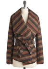 The Sunset's Embrace Jacket by Jack by BB Dakota - Multi, Red, Yellow, Brown, Black, Casual, Long Sleeve, Belted, Mid-length, 2, Rustic