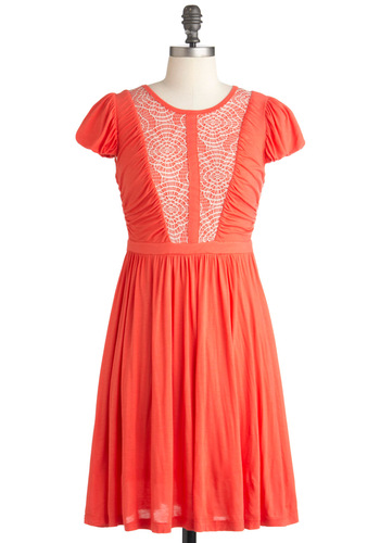 Webbed Sight Dress - Mid-length, Orange, White, Solid, Exposed zipper, Party, A-line, Cap Sleeves, Coral, International Designer, Tis the Season Sale