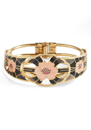 Good as Nouveau Bracelet - Black, Floral, Cutout, Vintage Inspired, 20s, Pink, Gold, Party, Cocktail, French / Victorian
