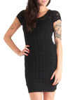 What Do You Crochet? Dress by Tulle Clothing - Mid-length, Black, Crochet, Short Sleeves, Bodycon / Bandage