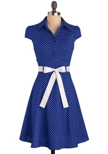 Hepcat Dress in Deep Blue - Mid-length, Blue, White, Polka Dots, Belted, Casual, Rockabilly, Vintage Inspired, 50s, A-line, Cap Sleeves, Good, Collared, Gifts Sale