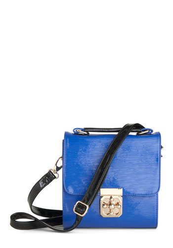 Squaring is Caring Bag - Blue, Black, Solid, Casual, Faux Leather, Tis the Season Sale