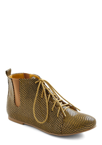 Have We Net? Bootie - Gold, Black, Casual, Urban, Fall, Faux Leather, Lace Up, Flat